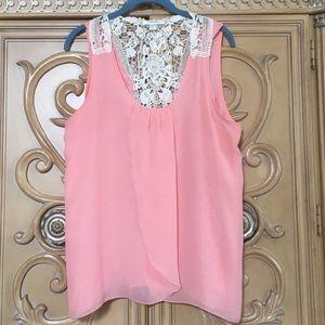 Dress Barn Lacy back silky light peach top large
